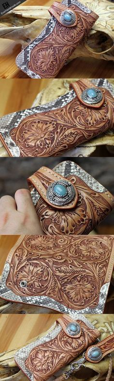 Handmade leather biker wallet floral carved chian bifold Long wallet p | EverHandmade