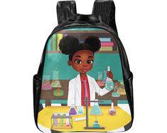 Back to School 2019 African American Backpack Black School Supplies Black Girl Backpack Afro Puff Backpack Black Kids Travel