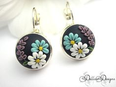 Summer Dream  Unique Polymer Clay Earrings with by DellineDesigns