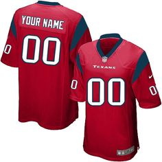 Houston Texans Youth Jersey Limited Customized #0 Red Nike NFL Jersey Sale