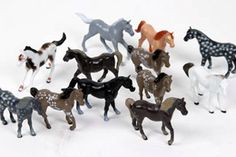 Plastic Play Horse 12-Pack - great party favor idea!  And good source for the painted mason jar tops craft...
