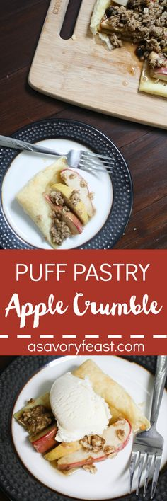 Puff Pastry makes a delicious base for this update on the classic apple crumble. A beautiful Fall dessert that is great for parties or the holidays.