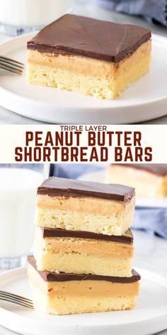 Butter Shortbread Cookies, Peanut Butter Cookie Bars, Shortbread Bars, Peanut Butter Filling, Chocolate Peanut Butter Cookies, Shortbread Recipes, Peanut Butter Recipes, Caramel Shortbread, Cookie Recipes