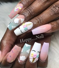 What Christmas manicure to choose for a festive mood - My Nails Unicorn Nails Designs, Unicorn Nail Art, Cute Nails, Pretty Nails, Birthday Nails, Card Birthday, Birthday Quotes, Birthday Ideas, Birthday Gifts