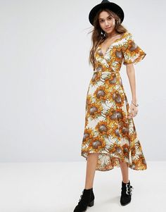 Kiss The Sky Wrap Front Midi Tea Dress In Yellow Sunflower Print at Asos