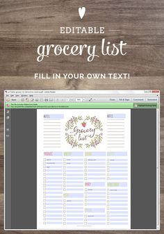 Free printable grocery list - a fillable PDF file! Click here to download