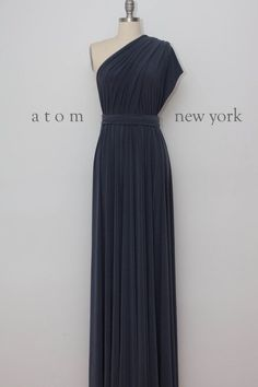 Charcoal Gray Floor Length Ball Gown Long Maxi by AtomAttire