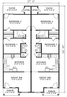 Simple small house floor plans duplex plan j891d floor for Basic duplex floor plans