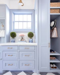 Blue Mudroom Cabinets with Brass Pulls - Transitional - Laundry Room Mudroom Laundry Room, Sweet Home, Grey Kitchen Cabinets, Neutral Cabinets, Mudroom Cabinets, Gold Kitchen, Blue Cabinets, Chinoiserie Chic, Kitchen Remodel
