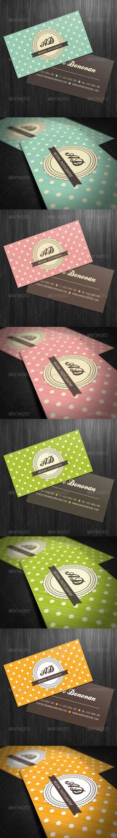 [Colors, simple and sweet] Retro Business Card (4 Color Variations) - GraphicRiver