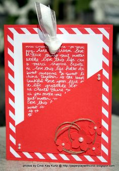 handmade card found on Paper Play with Cindi ..red and white ... front pocket with a folded tag ... fun design ... Stampin' Up!