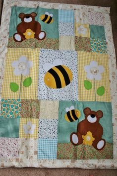 Bees and Bears Patchwork Baby Quilt on Etsy, £55.00