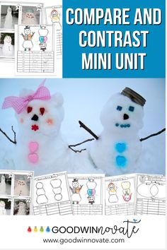 Compare and Contrast is fun as students use this snow Themed Mini Unit. It is jam packed with goodies. Compare version of goldilocks books, make snowmen out of snow dough and more. #readingcomprehension #snow Snowman Photos, 3rd Grade Classroom, Classroom Ideas, Snow Theme, Snow Fun, Compare And Contrast, Reading Strategies, Winter Fun, Small Groups
