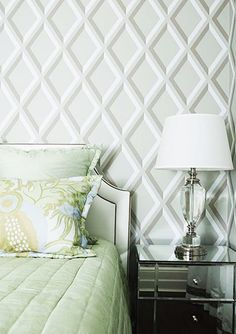 Love this lattice wallpaper with pale green and mirrors