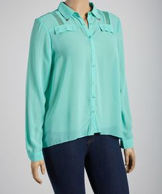 Look what I found on #zulily! Mint Sheer Button-Up - Plus by Ami Sanzuri #zulilyfinds