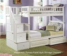 Atlantic Furniture - Columbia Staircase Bunk Bed Twin Over Twin with 2 Raised Panel Bed Drawers in a White Finish - Bunk Beds with Stairs - BEDS Bunk Beds With Drawers, Bunk Beds With Storage, Bunk Bed With Trundle, Full Bunk Beds, Bunk Beds With Stairs, Kids Bunk Beds, Bed Storage, Storage Drawers, Loft Beds