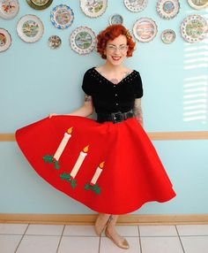 """Turn back time and celebrate Christmas in true 1950s style with this incredibly fun Very Retro Christmas Skirt. You can create a gorgeous vintage-inspired circle skirt with charming holiday details with this easy sewing tutorial. This <a href=""""http://www.allfreesewing.com/tag/Free-Skirt-Patterns"""" target=""""_blank"""" title=""""Skirt Patterns and Tutorials"""">free skirt tutorial</a> is the perfect way to celebrate Christmas and uses about 2 yards of felt to make..."""
