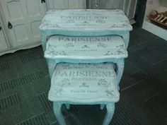 nest of tables painted in frenchic lady grey chalk paint and then waxed with custom made white wax. Stencil done using frenchic sexy silver frensheen. Decoupage Furniture, Hand Painted Furniture, Paint Furniture, Upcycled Furniture, Shabby Chic Furniture, Furniture Projects, Furniture Makeover, Diy Projects, Gray Chalk Paint