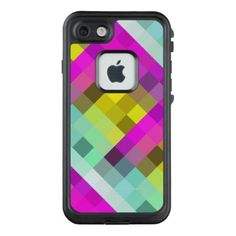 Cool & Popular Neon Colored Mosaic Pattern LifeProof FRĒ iPhone 7 Case - retro gifts style cyo diy special idea