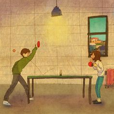 PING PONG ~ He looks so strong, even when I'm the one smacking the ping pong ball when we play table tennis. Couples Comics, Anime Couples, Cute Couples, This Is Love, Love Is Sweet, Cute Love, Couple Illustration, Illustration Art, Puuung Love Is