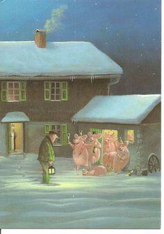 Michael Sowa, Art And Illustration, Pig Art, Naive Art, Christmas Art, Vintage Posters, Illustrators, Fantasy Art, Art Drawings