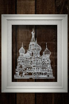 "Saint Basil's Cathedral papercut art decor - 8""x10"" Red Square, Moscow, Russia papercutting original artwork wall art"