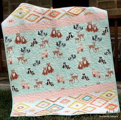 Woodland Girl Baby Quilt, Hello Bear Forest Animals Crib Bedding