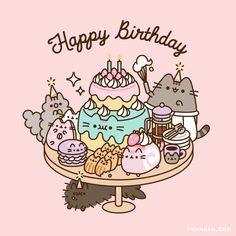 Pusheen Happy Birthday, Happy Birthday Wishes Cards, Birthday Greeting Cards, Cute Kawaii Animals, Kawaii Cat, Doodles Kawaii, Gato Pusheen, Unicornios Wallpaper, Kawaii Illustration