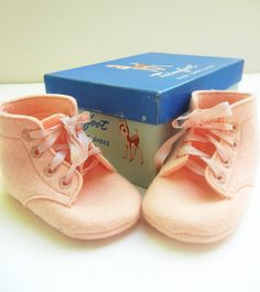 Trimfoot Felt Baby Shoes from the 1950s by tasticlife on Etsy