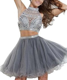 GOLD!!! Hora Loca European and American style lovely white gauze gray turtleneck two-piece dress beaded homecoming dance