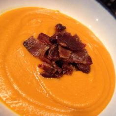 Roasted Sweet Potato and Three Pepper Soup with Meatons | Be-YOU-tifully Delicious