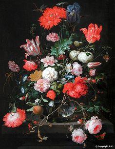 Abraham Mignon, Fleurs dans une carafe de cristal