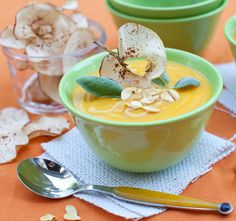 curried butternut squash soup + apple chips