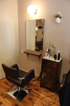 Custom Salon Furniture made by Brooklyn Reclamation for Little Axe Salon. Stylist Station Cabinet made of recycled metal.