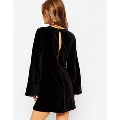 ASOS PETITE Premium Velvet Embroidered A-line Dress with Bell Sleeve ($146) ❤ liked on Polyvore featuring dresses, petite dresses, asos, black dress, bell sleeve dress and black velvet dress