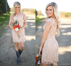 2016 Cheap Country Bridesmaid Dresses V Neck Full Lace Short Sleeves Champagne Sheath Wedding Guest Wear Party Dresses Maid Of Honor Gowns Long Dresses Cheap Dresses From Haiyan4419, $95.29| Dhgate.Com
