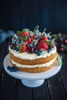 Sponge Cake with Berries and Cherries   The Hungry Australian