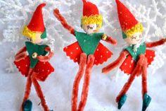 Vintage Christmas Ornaments - Spun Cotton Chenille Elf Girls - 3