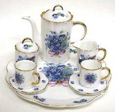 Forget Me Not Miniature Tea Set | Tea Service ~ Carts ~ Trays | Pinte…)
