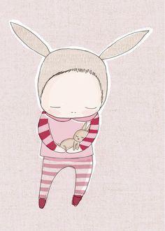 Children Wall Art - Baby Bunny Rabbit Cuddle - Pink and Red Stripes Art Print -Girl Illustration. $16.00, via Etsy.