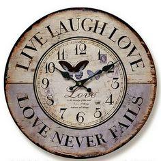 Home :: Clocks :: Indoor Wall Clocks :: Antique & Vintage :: Live Laugh Love Wall Clock