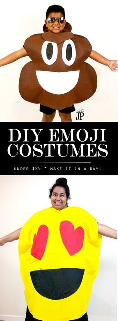 FAST and EASY DIY emjoi costumes!! AWESOME video tutorials for TWO emoji costumes. Get the supplies for under $20 if not UNDER $10!!! NO sewing required - so easy to make as a last minute costume idea. This blog has the BEST DIY Halloween costume tutorial