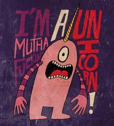 """Mutha F'n Unicorn"" Art Print by Chris Piascik on Society6."