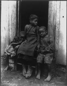 :::::::::::: Antique Photograph :::::::::::: African American girl with her two younger brothers.
