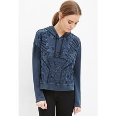 Forever 21 Forever 21 Women's  Geo-Embroidered Hoodie (€32) ❤ liked on Polyvore featuring tops, hoodies, lightweight hooded sweatshirt, lightweight hoodie, hooded sweatshirt, blue top и embroidered top
