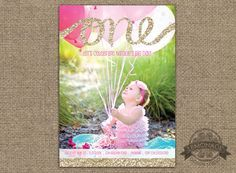 Gold Glitter One First Birthday Invitation - Any text, Any Colors - Girl First Birthday - Girly Birthday Party - Pink and Gold - Photo Invitation - Custom Design - Lemonade Design Studio