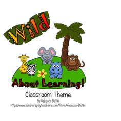 Wild About Learning!  64 pages of full color printables and 5 pages of tips and illustrations for creating a jungle, safari, or wild animal theme in your classroom. $5