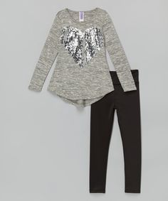 Look at this Gray Sequin Heart Top