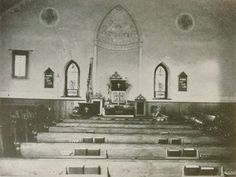Interior of Ridge Valley Reformed United Church of Christ from 1901-1947.  The ceiling and walls had frescoes which were covered in the 1947 renovation.