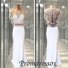 #promdress01 prom dresses, 2016 elegant sleeveless two pieces white chiffon beaded long prom dress for teens, ball gown, occasion dress for #prom2k15, side slit #promdress -> www.promdress01.c... #coniefox #2016prom